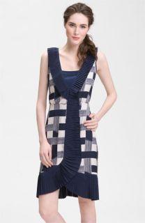 Tory Burch Janetta Pleat Trim Print Silk Dress