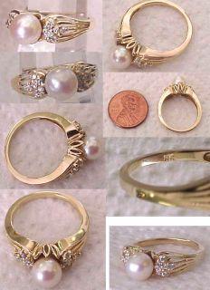 14k Yellow Gold Ladies Cultured Pearl Diamond Ring