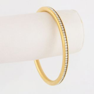 14kt Russian Gold EP Clear Cubic Zirconia Bangle Bracelet