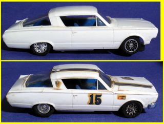 Vintage 1966 Strombecker Plymouth Barracuda Slot Cars as Is 1 32
