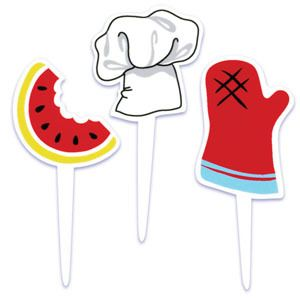 Grill Watermelon Cupcake Picks Cake Decorations Toppers