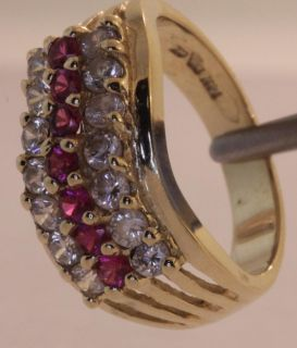 10K Yellow Gold Ruby Red Cubic Zirconia CZ Ring Estate Womens Vintage