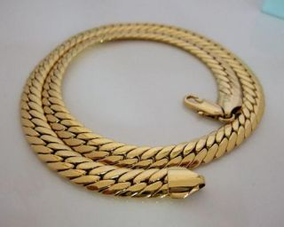 24K Gold Plated Mens Necklace Link Flat Curb Chain 60cm