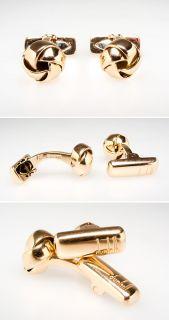 Dunhill Cufflinks Knot Motif Design Solid 18K Gold Fine Estate
