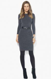 Lauren Ralph Lauren Boatneck Belted Jersey Dress