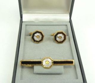 Authentic Dunhill Cufflinks Tie Clip Gold Black Silver Color Set w Box