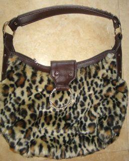Daisy Fuentes Faux Leopard Fur Purse with Silver Rhinestone Ring