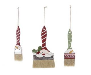 CHRISTMAS Wood Paint Brush Ornaments Set Of 3 NWT Creative Co op