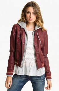 Obey Layered Look Faux Leather Varsity Jacket