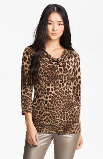 Anne Klein Drape Neck Leopard Print Top (Petite)