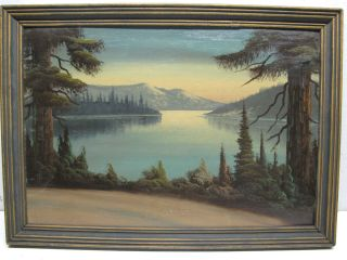 Antique Oil Painting on Board Lake Crescent Washington State