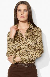 Lauren Ralph Lauren Animal Print Work Shirt (Petite)