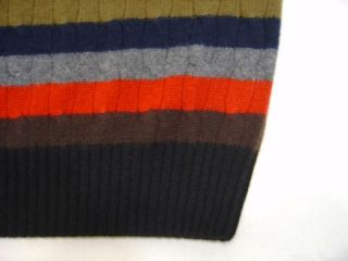 Daniel Cremieux 100 Cashmere Cable Sweater Mens M Crew Navy Red