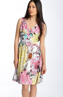 Donna Morgan Twist Front Print Cotton Dress