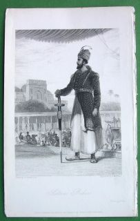India Sultan Baber Holding Huge Sword 1837 Antique Print by w Daniell