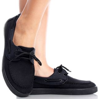 Black Canvas Casual Comfy Lace Up Boat Loafer Women Low Mid Heel Shoes