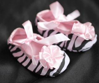 FREE POST NEW Soft Baby Girls Crib Shoes Zebra Print Pink Satin Tie 0