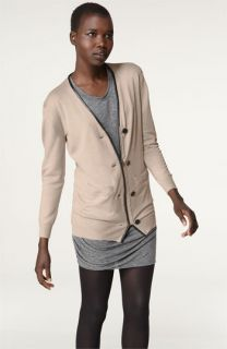 3.1 Phillip Lim Leather Trim Merino Wool Cardigan