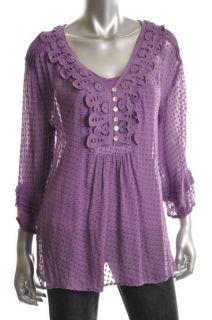 Daniel Rainn New Purple Silk 3 4 Sleeves Swiss Dot Blouse M BHFO