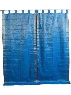 silk sari curtains blue saree curtain drapes panel window treatment