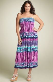 Lily Strapless Smocked Maxi Dress (Plus)