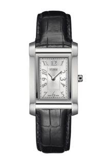 Fendi Loop   Small Rectangular Leather Strap Watch