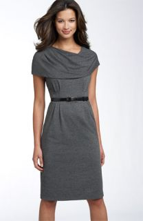 Donna Ricco Belted Jersey Dress with Oversized Collar