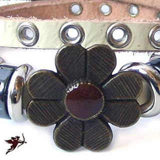 Ethnic White Leather Flower Wrap Bracelet Wristband Handcraft Artisan