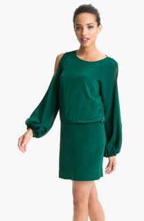Nicole Miller Split Sleeve Silk Drop Waist Dress