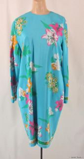 Aqua Blue Brilliant Flowers Anne Crimmins Vintage 80s 90s Silk Dress L