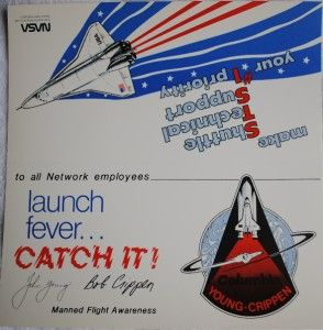 Space Shuttle STS 1 Tent Card Columbia John Young & Bob Crippen MFA