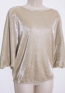 DANA BUCHMAN Champagne Gold Accordian Pleat Dressy Top Blouse Womens