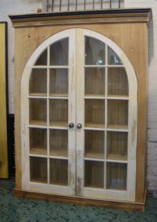 Custom Cabinet Hutch Bookcase w Arched Window Doors