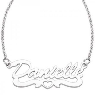 Personalized Sterling Silver Open Heart Script Name Necklace   Made 4