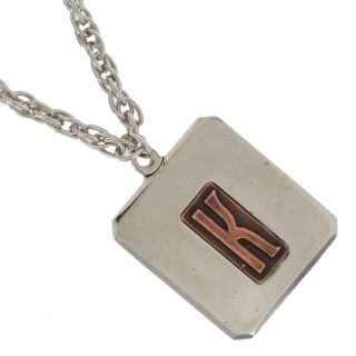 Personalized Custom Initial Letter Pendant Necklace Silver Plated Made