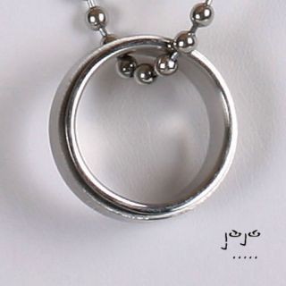 Cross Spinner Ring Pendant Ball Chain Necklace Spinning