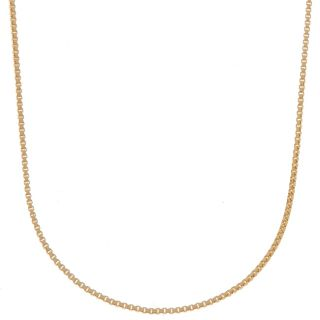 18K Gold Over Silver Box Chain Necklace 16 Inch