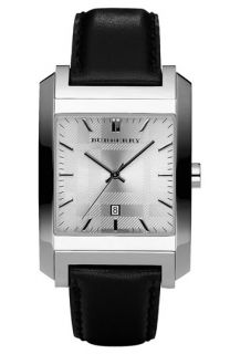 Burberry Large Stainless Steel Leather Strap Watch