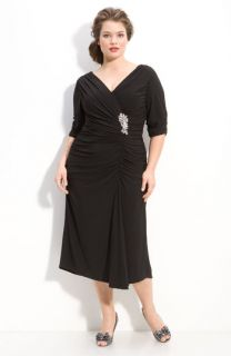 Alex Evenings Jeweled Ruched Jersey Dress (Plus)