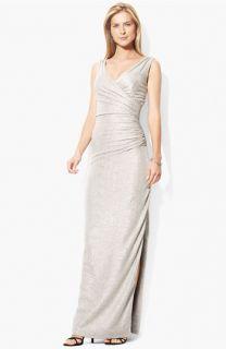 Lauren Ralph Lauren Surplice Metallic Jersey Gown