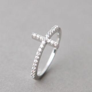 Sideways Cross Ring White Gold Side Cross Ring Cross Jewelry
