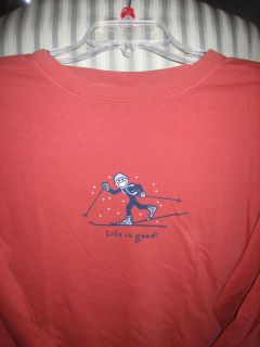Life Is Good Mens L s Tee JakeCross Country Ski XXL