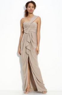 BCBGMAXAZRIA Ruffle Front One Shoulder Satin Gown