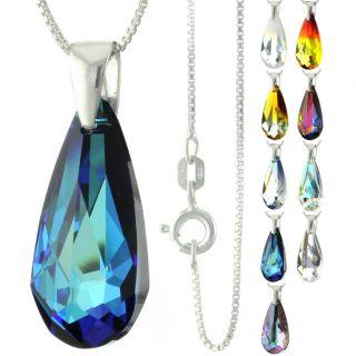 Sterling Silver Faceted Teardrop Bermuda Blue Crystal Pendant Necklace