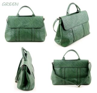 Ostrich PU Leather Tote Bag Crossbody Handbag Purse Red