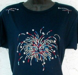 Embellished Rhinestone Tee Shirts Fireworks