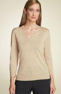 Lafayette 148 New York Merino Wool V Neck Sweater