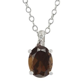 Ct Oval Brown Smoky Quartz White Topaz 14k White Gold Pendant