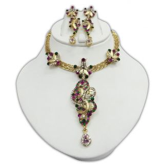 Indian Party wear CZ Gold Tone Necklace Set Traditional Bollywood
