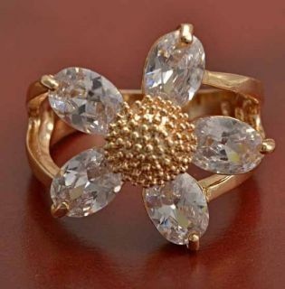 Gorgeous 9K Yellow Gold Filled CZ Flower Ring Size 7 5 B331